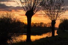 Ландшафты в Нидерланд, голландские ландшафты стоковые изображения