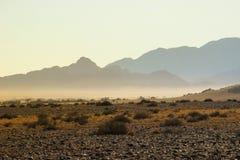 Ландшафты пустыни с горами на юге Намибии Засушливый сезон, сухая растительность стоковая фотография rf