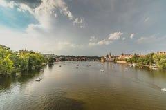 Ландшафты реки Vlatva в Праге Стоковые Изображения