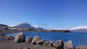 Ландшафты саммита Valcano и голубой залив стоковая фотография