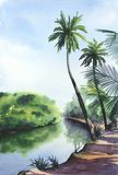 Ландшафт акварели тропический иллюстрация вектора