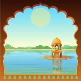 Ландшафт анимации: старый индийский дворец, взгляд от окна, беседка в реке иллюстрация вектора