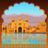 Ландшафт анимации: старый индийский дворец на речном береге иллюстрация вектора