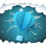 Ландшафт бумаги шаржа Воздушный шар, ель, зима иллюстрация штока
