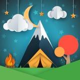 Ландшафт бумаги шаржа Дерево, гора, огонь, шатер, луна, иллюстрация звезды облака иллюстрация вектора