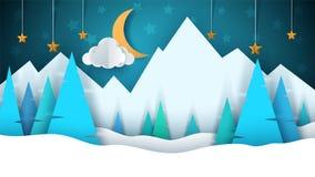 Ландшафт бумаги шаржа зимы Новый Год рождества счастливое веселое Ель, луна, облако, звезда, гора, снег иллюстрация вектора