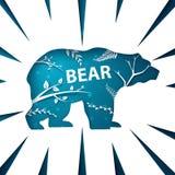 Ландшафт бумаги шаржа Иллюстрация медведя иллюстрация вектора