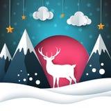 Ландшафт бумаги шаржа Иллюстрация оленей рождество веселое иллюстрация вектора