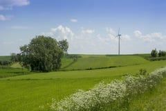 Ландшафт весны с ветротурбиной Стоковое фото RF