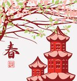Ландшафт весны с китайской весной иероглифа Стоковое Изображение