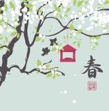 Ландшафт весны с китайской весной иероглифа Стоковые Фотографии RF