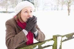 ландшафт вне старшей снежной стоящей женщины стоковые изображения