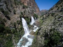 Ландшафт водопада леса горы Водопад Kapuzbasi в Kayseri, Турции Стоковое фото RF