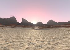 ландшафт восхода солнца пустыни перевода 3D Стоковые Фотографии RF