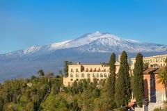 Ландшафт вулкана Этна увиденный от Taormina стоковое фото rf