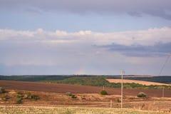 Ландшафт в сентябре вне города на заходе солнца Стоковые Фото