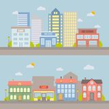 Ландшафт города вектора плоский для дизайна и иллюстрации Стоковая Фотография