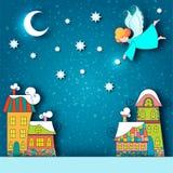 Ландшафт города зимы снежный Предпосылка рождества с домами сказки и ангел со звездами и луной в небе на кануне праздника иллюстрация вектора
