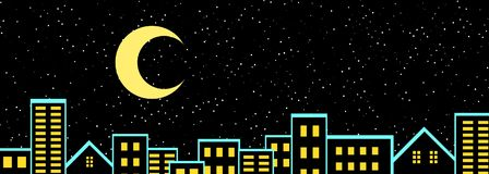 Ландшафт города ночи городской с звездами и луной в иллюстрации неба 3D Стоковая Фотография RF