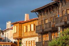 Ландшафт города - старые улицы и дома в балканском стиле Стоковые Фото