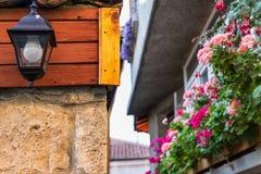 Ландшафт города - стилизованная лампа на улице с цветками Стоковые Изображения RF
