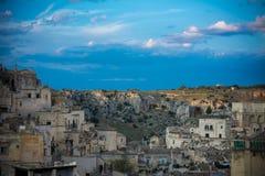 Ландшафт города matera на заходе солнца Стоковое фото RF