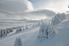 Ландшафт горы зимы, взгляд от выше Стоковая Фотография RF