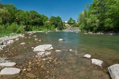 Ландшафт горы, лес и быстрое река горы Красивый пейзаж с рекой горы Стоковое Фото