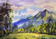 Ландшафт горы покрашенный акварелью Стоковое фото RF