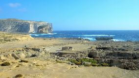 Ландшафт горы Сан Lawrenz, острова Gozo, Мальты акции видеоматериалы