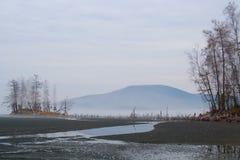 Ландшафт горы с озером Turgoyak, горами Ural Стоковая Фотография RF