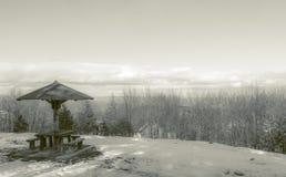 Ландшафт деревянной скамьи и горы Стоковое фото RF