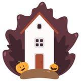 Ландшафт дома сельский Иллюстрация вектора в плоском стиле бесплатная иллюстрация