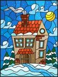 Ландшафт, дом в деревне и ели зимы иллюстрации цветного стекла на предпосылке снега, неба и солнца Стоковое Фото