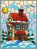 Ландшафт, дом в деревне и ели зимы иллюстрации цветного стекла на предпосылке снега, неба и солнца Стоковое Изображение