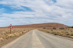 Ландшафт дороги с предупредительным знаком в Karoo Tankwa стоковая фотография