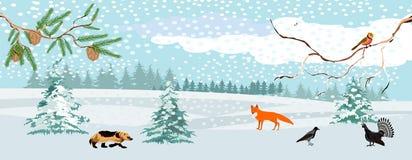 Ландшафт живой природы, зима в лесе, иллюстрация вектора стоковые фото
