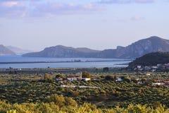Ландшафт залива Navarino, Греция Стоковое Изображение