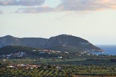 Ландшафт залива Navarino, Греция Стоковое фото RF