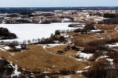 Ландшафт зимы в Литве Стоковые Изображения