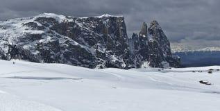 Ландшафт зимы, доломиты - Италия Стоковая Фотография RF