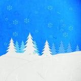 Ландшафт зимы отрезока бумаги риса с снежком Стоковые Изображения