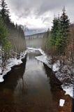 Ландшафт зимы реки стоковые изображения