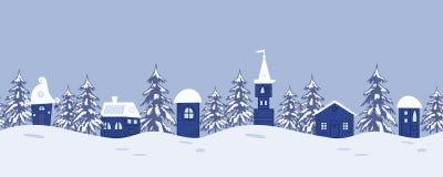 Ландшафт зимы сказки Безшовная граница с фантастическими ложами и елями иллюстрация штока