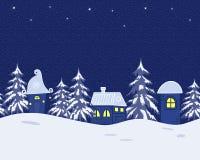 Ландшафт зимы сказки граница безшовная иллюстрация штока