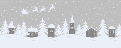 Ландшафт зимы сказки граница безшовная иллюстрация вектора