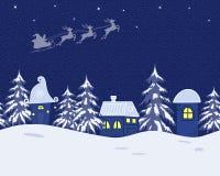 Ландшафт зимы сказки Санта Клаус едет через небо на оленях иллюстрация вектора