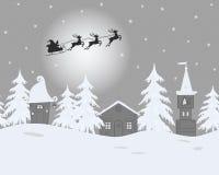Ландшафт зимы сказки Санта Клаус едет через небо на оленях бесплатная иллюстрация