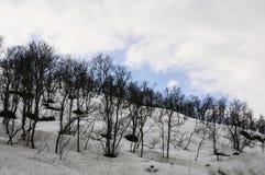 Ландшафт зимы с горами, снегом и небом Стоковая Фотография RF