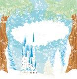 Ландшафт зимы с замком Стоковая Фотография